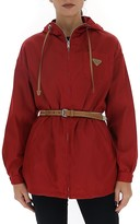 Prada Belted Logo Hooded Jacket