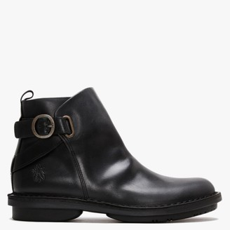 Fly London Fico Black Leather Ankle Boots