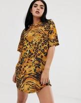 Asos Design DESIGN ultimate slinky t-shirt dress in animal print