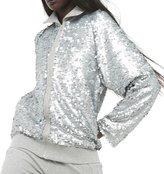 Norma Kamali women's Bomber Jacket with Sequins - Heather Grey