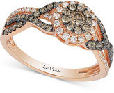 LeVian Le Vian Chocolatier® Chocolate and White Diamond Ring (5/8 ct. t.w.) in 14k Rose Gold