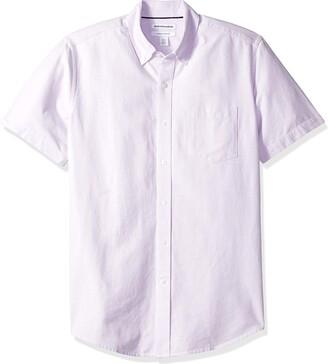 Amazon Essentials Regular-fit Short-sleeve Pocket Oxford Shirt Button