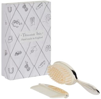 English Trousseau Silver Plated Brush And Comb Set