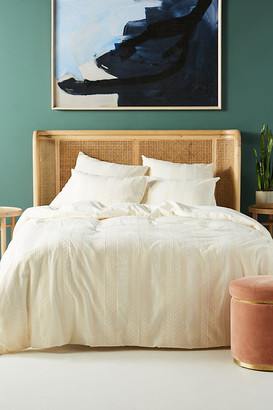 Anthropologie Embroidered Cantrelle Duvet Cover By in White Size Q top/bed