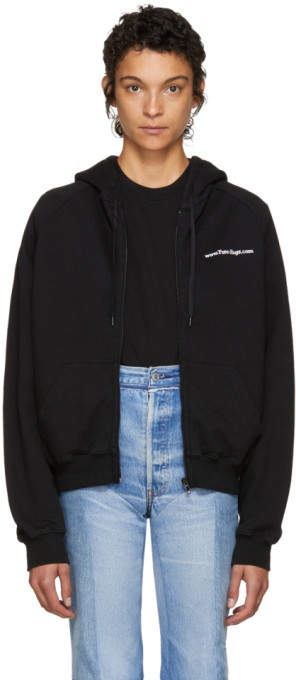 Vetements Black FREE-HUGS.COM Normal Fitted Zip Hoodie
