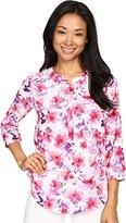 NYDJ Women's Floral 3/4 Sleeve Henley Pleat Back Blouse