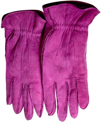 Chanel Pink Leather Gloves
