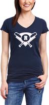 Navy Initial Baseball Diamond Initial V-Neck Tee