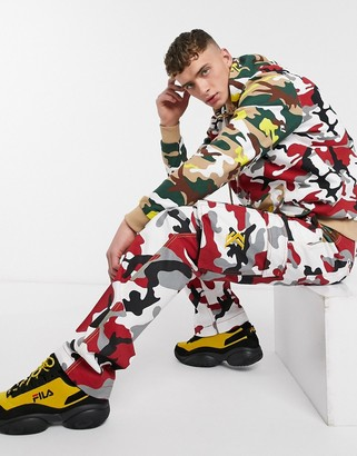 Karl Kani Retro Camo baggy cargo trousers in red camo