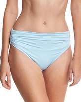 Carmen Marc Valvo Classic Shirred High-Rise Bikini Bottom, Powder Blue