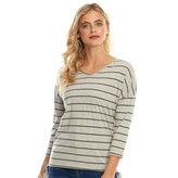 Board Angels Womens Ruched Side Detail Top Medium Grey Marl/Charcoal