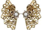Oscar de la Renta Pearl Filigree Button C Earrings