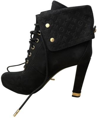 Louis Vuitton Black Suede Ankle boots