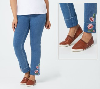 Quacker Factory DreamJeannes Ankle Pants w/ Embroidered Cuff