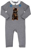 Dolce & Gabbana Zambia Velvet Patch Cotton Fleece Romper