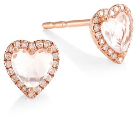 Ef Collection 14K Rose Gold, White Topaz & Diamond Heart Stud Earrings