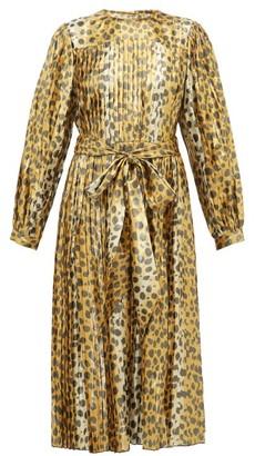 Marc Jacobs Pleated Leopard-print Silk-blend Lame Midi Dress - Womens - Leopard