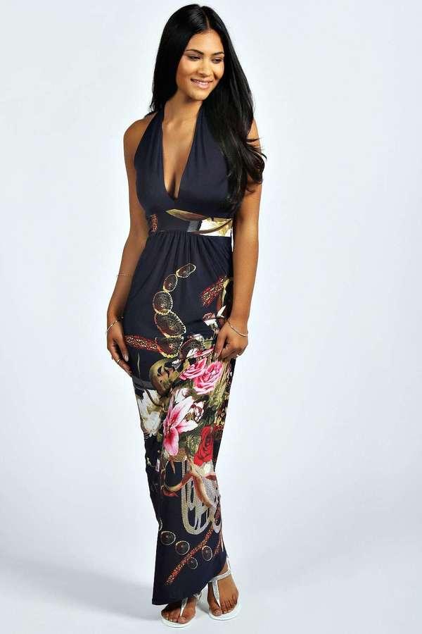 boohoo Bethany Boarder Print Halter Neck Maxi Dress