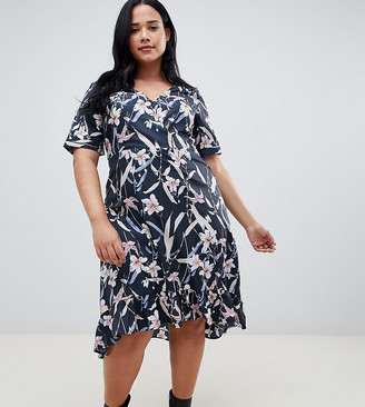 Yumi plus capped sleeve floral wrap dress