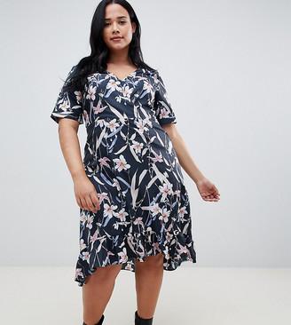 Yumi Plus plus capped sleeve floral wrap dress-Multi