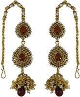 Matra Goldtone CZ Stone Dangle Earrings Set Ethnic Bollywood Indian Wedding Jewelry