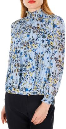 Nanette Nanette Lepore Long Sleeve Floral Smocked Blouse