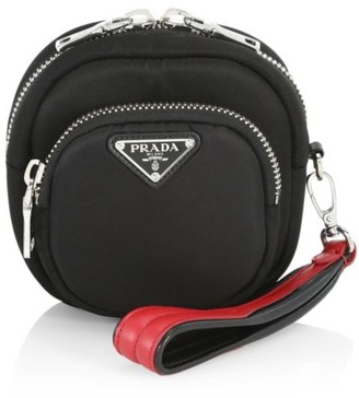 Prada Mini Nylon Cargo Pouch With Wristlet Strap