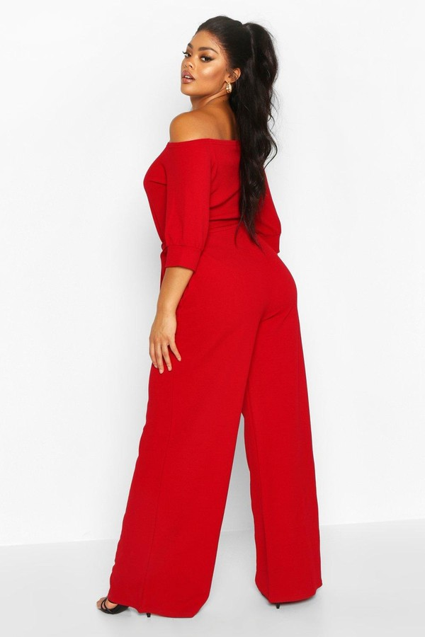 Thumbnail for your product : boohoo Plus Off Shoulder Tailored Self Belt Jumpsuit