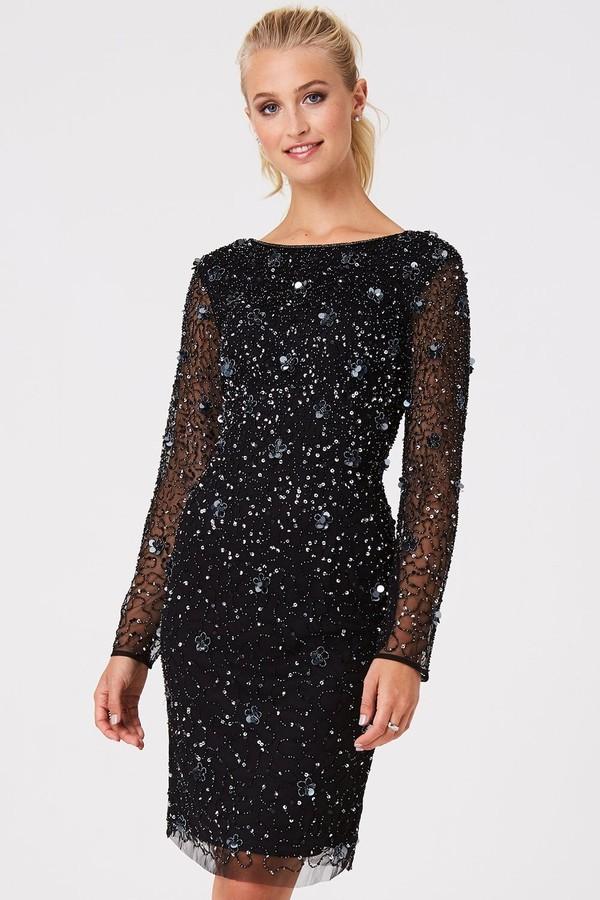 Little Mistress Luxury Jenny Black Hand-Embellished Sequin Bodycon Dress