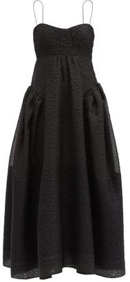 Cecilie Bahnsen Louie Gathered Matelasse Dress - Black
