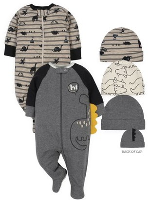 Gerber Baby Boy Organic Sleep 'N Play Pajamas & Caps Bundle, 5-Piece