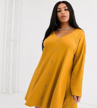 ASOS DESIGN Curve mini button through swing dress in texture