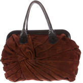 Valentino Pleated Suede Handle Bag