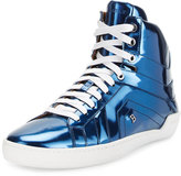 Bally Eticon Metallic Leather High-Top Sneaker, Blue