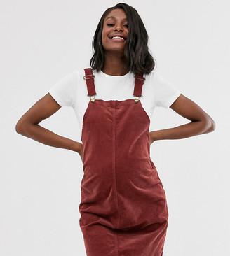 Mama Licious Mama.Licious Mamalicious maternity cord pinny mini dress in rust-Red