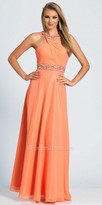 Dave and Johnny Embellished Pleated Cross Over Prom Dress