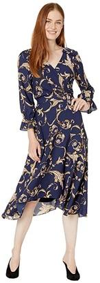 Tahari ASL Long Sleeve Printed Crepe Status Print Dress w/ Uneven Hemline (Navy/Beige/Floral) Women's Dress