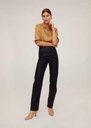 MANGO Satin pocket shirt ochre - 2 - Women