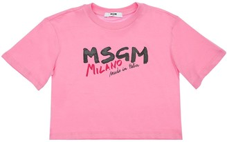 MSGM Printed Crop Cotton Jersey T-Shirt
