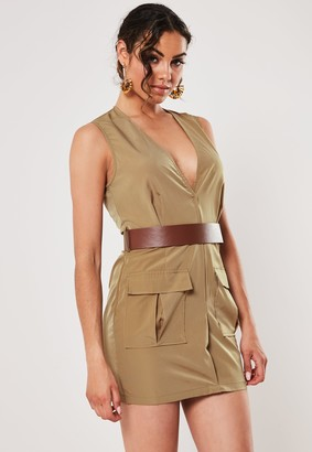Missguided Tan V Neck Belted Utility Mini Dress