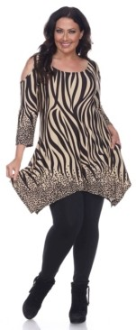 White Mark Plus Size Antonia Cut-Out Shoulder Tunic