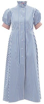 Thierry Colson Venetia Ruffled Striped Cotton-poplin Midi Dress - Womens - Blue Stripe
