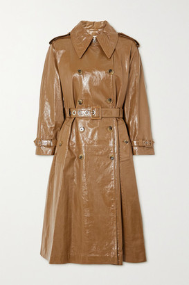 ALEXACHUNG Belted Double-breasted Crinkled Glossed-leather Trench Coat - Tan