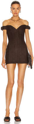 LaQuan Smith Michelle Off Shoulder Mini Dress in Chocolate | FWRD