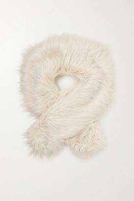 EMMA BREWIN Faux Fur Scarf - Ecru