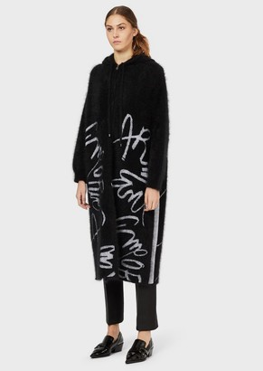 Emporio Armani Oversized Wool Cardigan With Zipper And Jacquard Logo