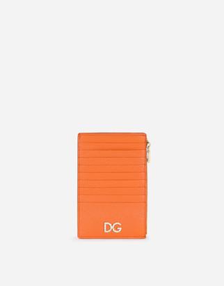 Dolce & Gabbana Large Vertical Dauphine Calfskin Card Holder With Rhinestone Logo
