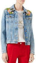 Gucci Embroidered Denim Jacket, Blue