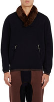 Kolor Men's Faux Fur Accented Sweatshirt-NAVY
