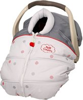 Petit Coulou 3-seasons grey car seat cover with red dots: keep baby safe and happy: less handling = happier baby and Mommy and don't hinder your child's safety in the car seat: nothing between baby and harnesses.